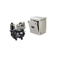 Cattani 30-160 - безмасляный компрессор для двух стоматологических установок, c кожухом, c осушителем, с ресивером 30 л (160 л/мин)