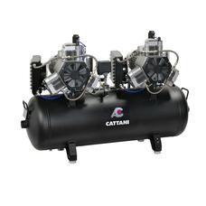 Cattani 150-330 - безмасляный стоматологический компрессор для CAD/CAM, трехцилиндровый, с 2-мя осушителями, с ресивером 150 л, 330 л/мин