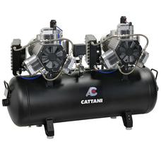 Cattani 300-952 - безмасляный стоматологический компрессор для 16-ти стоматологических установок, с 2 шестицилиндровыми двигателями, c 4 осушителями, с ресивером 300 л, 952 л/мин