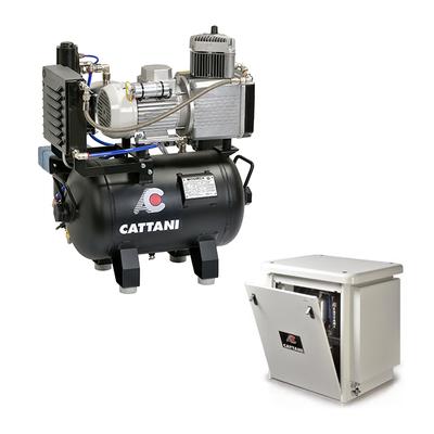 Cattani 30-67 - безмасляный компрессор для одной стоматологической установки, c осушителем, c кожухом, с ресивером 30 л, 67,5 л/мин | Cattani (Италия)