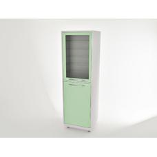 AR-E12 - шкаф закрытого типа, металл в полимере, 2 секции, 8 полок