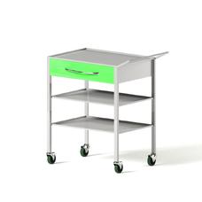 AR-H27 - столик передвижной инструментальный, металл в полимере, 2 полки, 1 выдвижной ящик