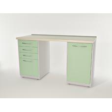 AR-L02 - стол, металл в полимере, 2 полки, 4 выдвижных ящика