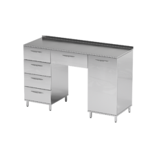AR-L04 - стол, нержавеющая сталь, 2 полки, 5 выдвижных ящиков