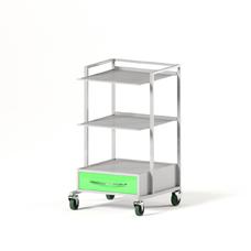 AT-B13V - столик передвижной инструментальный, металл в полимере, 2 полки, 1 выдвижной ящик