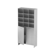 AT-S011 - шкаф-стеллаж для одноразовой одежды, нержавеющая сталь, 12 ячеек