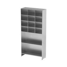 AT-S07 - шкаф-стеллаж для одноразовой одежды, нержавеющая сталь, 2 полки, 12 ячеек