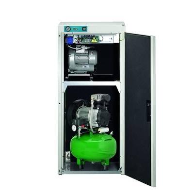 KD 224 AB - комбинированный безмасляный компрессор для 2-х стоматологических установок с отсасывающим агрегатом, с кожухом, с ресивером 24 л (100 л/мин) | Diplomat Dental (Словакия)
