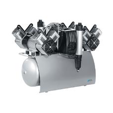 Quattro Tandem - безмасляный компрессор с двумя агрегатами для 10-ти стоматологических установок с осушителем, с ресивером 90 л, 420 л/мин