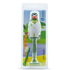 Prof. Paul Попугайчик - детская зубная щетка с защитным футляром, зеленая