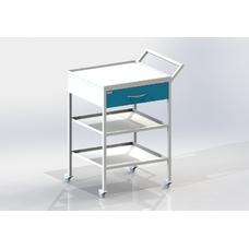СИП-3 - столик передвижной инструментальный, 1 выдвижной ящик, 2 полки из нержавеющей стали