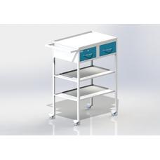 СПА - столик передвижной инструментальный, 2 выдвижных ящика, столешница из металла