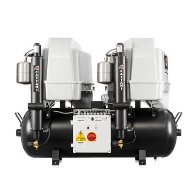 Cattani 100-320 C - безмасляный компрессор для 5-ти стоматологических установок, 2 мотора по 2 цилиндра, с 2 осушителями, с пластиковым кожухом, с ресивером 100 л, 320 л/мин | Cattani (Италия)